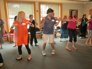 Holly participates in a movement activity during the 2011 Elementary Educators' Conference