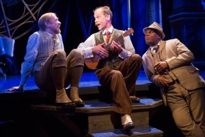 Louis as Feste with James Konicek and Craig Wallace as Andrew Aguecheek and Sir Toby Belch in Twelfth Night, Folger Theatre 2013