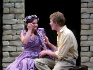 Here's a photo from the 2010 Secondary School Shakespeare Festival at the Folger – I'm playing Perdita, with my friend Ethan as Florizel, in The Winter's Tale
