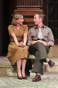 Kate Eastwood Norris (Beatrice), P.J. Sosko (Benedick), Much Ado About Nothing, Folger Theatre, 2005. Directed by Nick Hutchison. Photo: Carol Pratt. Carol Pratt.