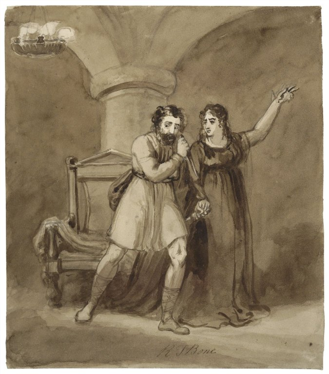 Macbeth And Lady Macbeth Talking Drawing