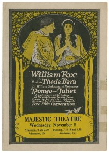 William Fox presents Theda Bara in William Shakespeare's masterpiece Romeo and Juliet, 1916. Folger Shakespeare Library.