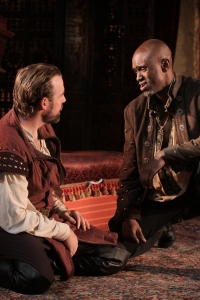 Owiso Odera (Othello) and Ian Merrill Peakes (Iago), Othello, directed by Robert Richmond, Folger Theatre, 2011. Photo by Carol Pratt.