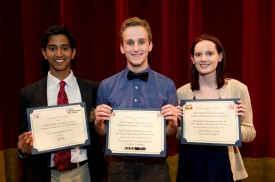l to r - Third place winner, Ashish Ramachandran, winner Scott Van Wye and Second place winner Chloe Bell