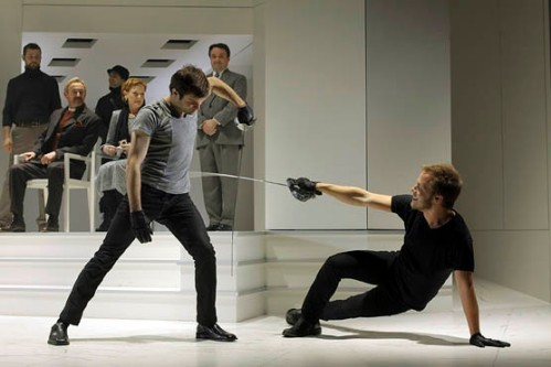 Justin Adams (Laertes) and Graham Michael Hamilton (Hamlet), Hamlet, directed by Joseph Haj, Folger Theatre, 2010. Photo by Carol Pratt.