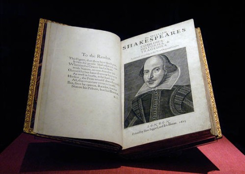 First Folio on display in the Exhibition Hall at the Folger Shakespeare Library.