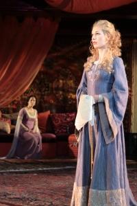 Karen Peakes (Emilia) and Janie Brookshire (Desdemona) in Othello, directed by Robert Richmond, Folger Theatre, 2011. Photo by Carol Pratt.