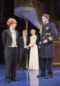 Epiphany in Folger Theatre's production of Shakespeare's Twelfth Night: Orsino realizes that the young page Cesario is in fact the woman Viola. Source: Scott Suchman