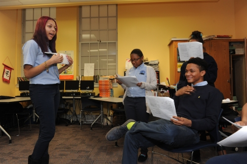 Students working with Shakespeare's text. (Photo credit: Lloyd Wolf)