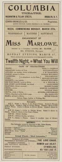 Julia Marlowe playbill for Columbia Theatre, Brooklyn, March 27, 1893. (Folger Collection)