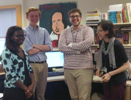 Folger Education Interns: Jareema Hylton, Henry Newton, Jack Ludwig and Emma Remsberg. (Image: Folger Library)
