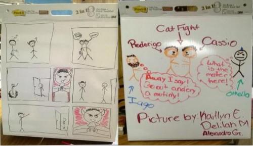 Othello cartoon storyboards. (Image: Greta Brasgalla)