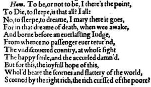 Hamlet's speech from Quarto One. (Image: Deborah Gascon)