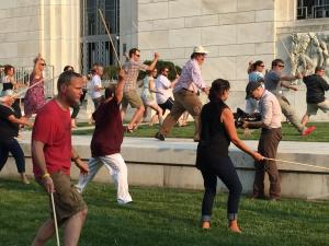 Sword fighting on the Folger lawn. (Image: Deborah Gascon)